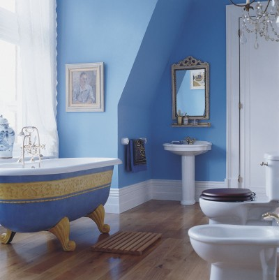 Gallery for royal blue and white bathroom - Royal blue bathroom decor ...