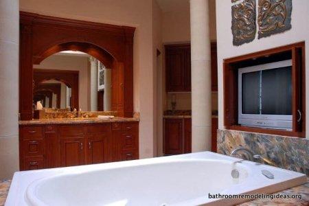Bathtub, television, vanity