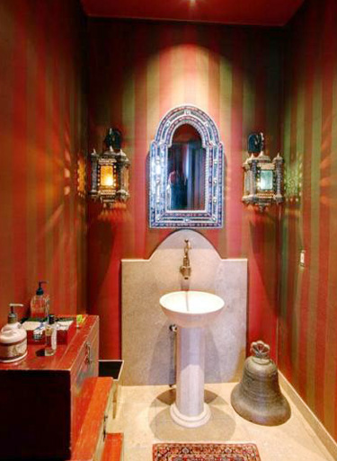 Red & Gold Powder Room